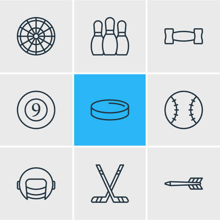 danger: Vector Illustration Of 9 Sport Icons. Editable Pack Of Hockey, Puck, Bowling And Other Elements.