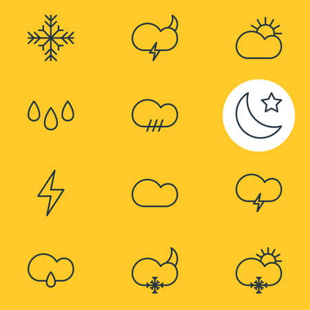 Vector Illustration Of 12 Weather Icons. Editable Pack Of Fulminant, Sunny, Snow And Other Elements. Illustration