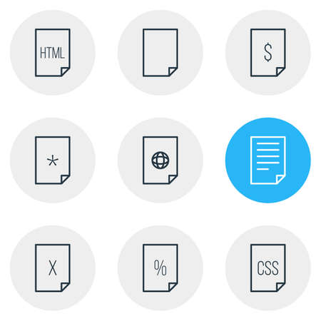 Vector Illustration Of 9 File Icons. Editable Pack Of Internet, Basic, Remove And Other Elements.