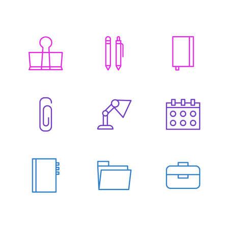 illuminator: Vector Illustration Of 9 Stationery Icons. Editable Pack Of Date, Illuminator, Binder Clip And Other Elements. Illustration