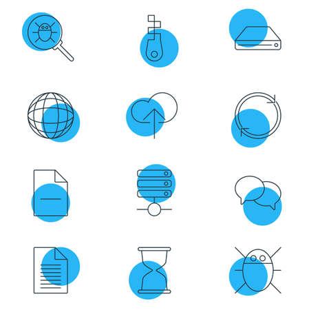 wap: Vector Illustration Of 12 Internet Icons. Editable Pack Of Refresh, Fastener, Sandglass Elements.
