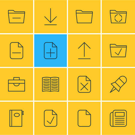Vector Illustration Of 16 Office Icons. Editable Pack Of Remove, Note, Deleting Folder And Other Elements.
