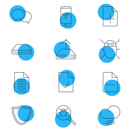 wap: Editable Pack Of Wave, Safeguard, Removing File And Other Elements.  Vector Illustration Of 12 Web Icons. Illustration