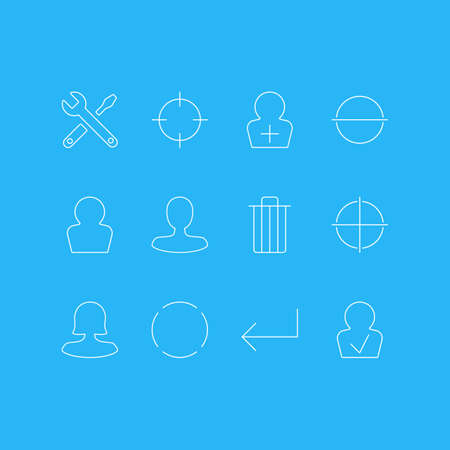 Editable Pack Of Man Member, Female User, Maintenance And Other Elements.  Vector Illustration Of 12 Interface Icons. Illustration