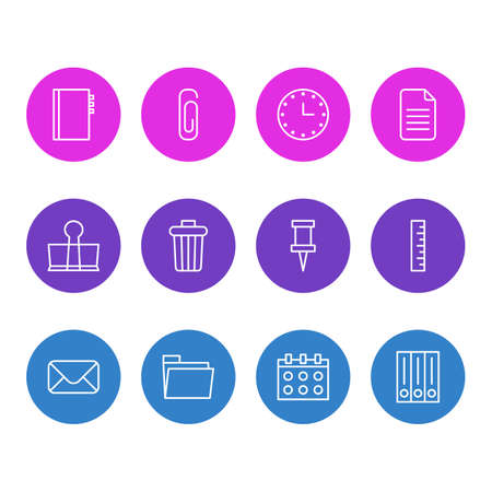Vector Illustration Of 12 Instruments Icons. Editable Pack Of Archive, Paperclip, Meter And Other Elements.