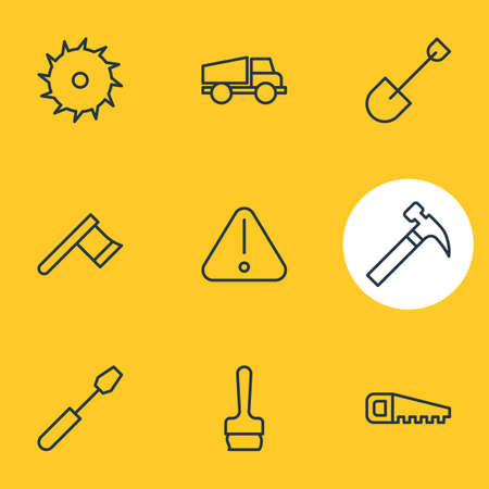 Vector Illustration Of 9 Construction Icons. Editable Pack Of Hacksaw, Hatchet, Handle Hit Elements.