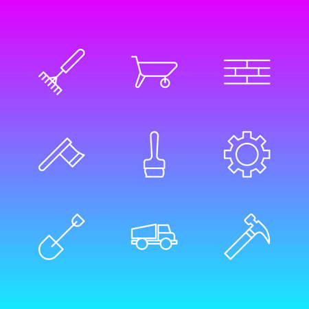 Vector Illustration Of 9 Structure Icons. Editable Pack Of Hatchet, Handcart, Spade Elements.