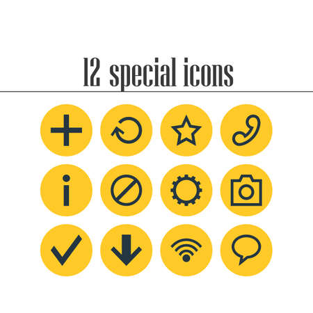 Vector Illustration Of 12 Interface Icons. Editable Pack Of Renovate, Talk Bubble, Access Denied And Other Elements. 向量圖像