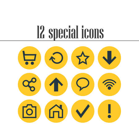 Vector Illustration Of 12 Interface Icons. Editable Pack Of Asterisk, Confirm, Downward And Other Elements.
