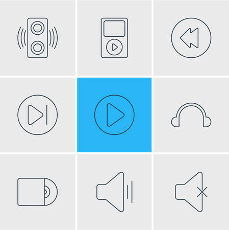 Vector Illustration Of 9 Melody Icons. Editable Pack Of Start, Subsequent, Compact Disk And Other Elements. Illustration