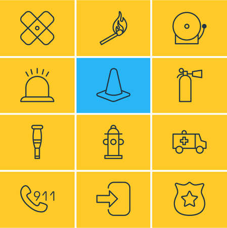Vector Illustration Of 12 Emergency Icons. Editable Pack Of Taper, Spike, Badge And Other Elements.