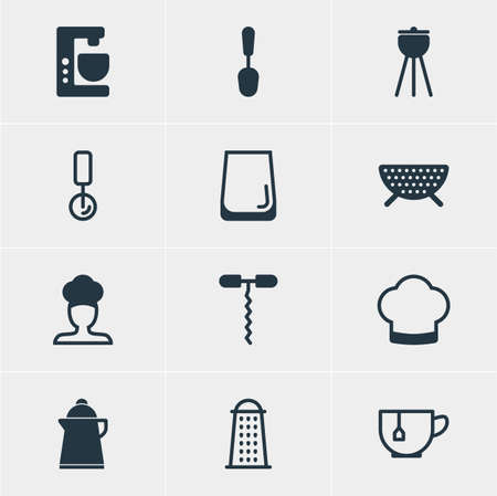 coking: Vector Illustration Of 12 Cooking Icons. Editable Pack Of Mixer, Chef Hat, Wine Opener And Other Elements.