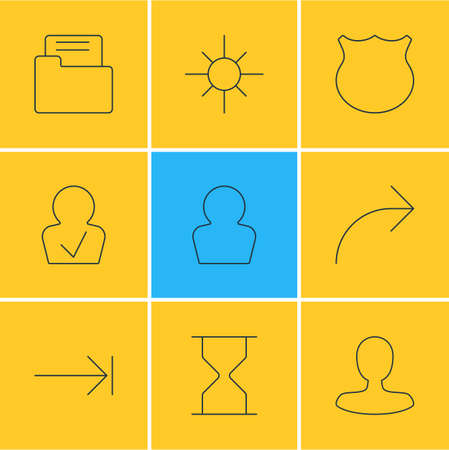 Vector Illustration Of 9 User Icons. Editable Pack Of Tabulation Button, Dossier, Share And Other Elements. 일러스트