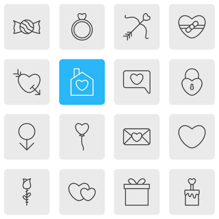 Vector Illustration Of 16 Amour Icons. Editable Pack Of Invitation, Present, Home And Other Elements.
