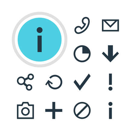 Vector Illustration Of 12 Interface Icons. Editable Pack Of Stopwatch, Letter, Access Denied And Other Elements.