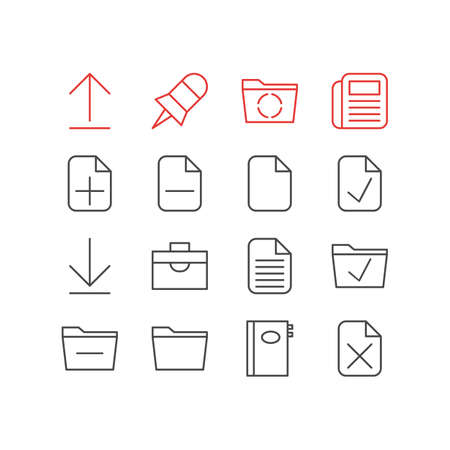 Vector Illustration Of 16 Bureau Icons. Editable Pack Of Journal, Deleting Folder, Install And Other Elements. Иллюстрация