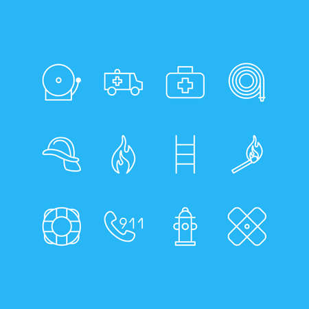 Vector Illustration Of 12 Emergency Icons. Editable Pack Of Hosepipe, Hardhat, Siren And Other Elements. Illustration