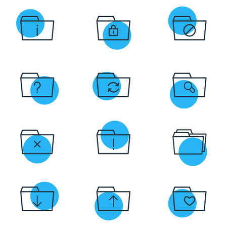 Vector Illustration Of 12 Document Icons. Editable Pack Of Liked, Closed, Recovery And Other Elements.
