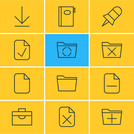 Vector Illustration Of 12 Office Icons. Editable Pack Of Document, Delete, Remove And Other Elements.