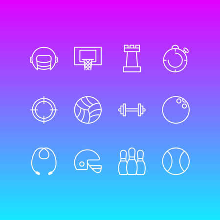 Vector Illustration Of 12 Fitness Icons. Editable Pack Of Second, Basketball, Sniper And Other Elements.