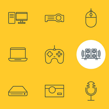 Vector Illustration Of 9 Accessory Icons. Editable Pack Of Computer, Cursor Controller, Memory Storage And Other Elements.