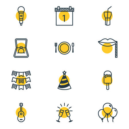 Vector Illustration Of 12 Banquet Icons. Editable Pack Of Cutlery, Decoration, Engagement And Other Elements.