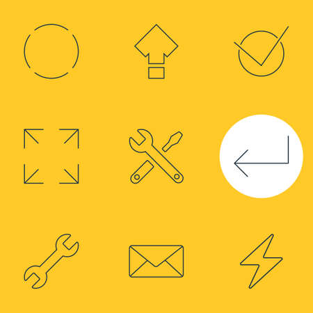 Ilustración de vector de 9 iconos de interfaz de usuario. Pack editable de envolvente, llave inglesa, sí y otros elementos.