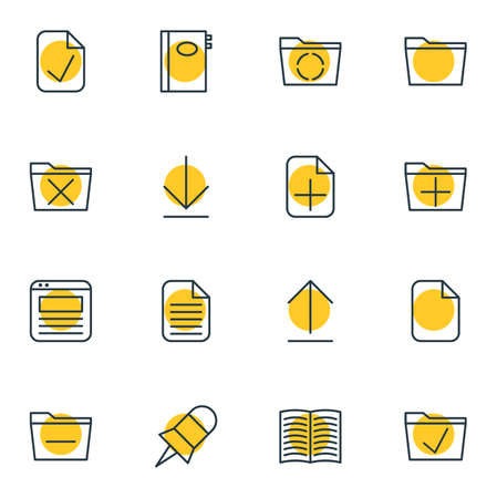 Vector Illustration Of 16 Bureau Icons. Editable Pack Of Delete, Done, Book And Other Elements.