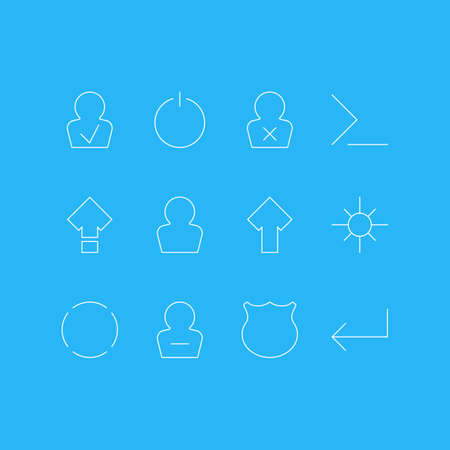 Vector Illustration Of 12 UI Icons. Editable Pack Of Switch Off, Remove User, Accsess And Other Elements. Illustration