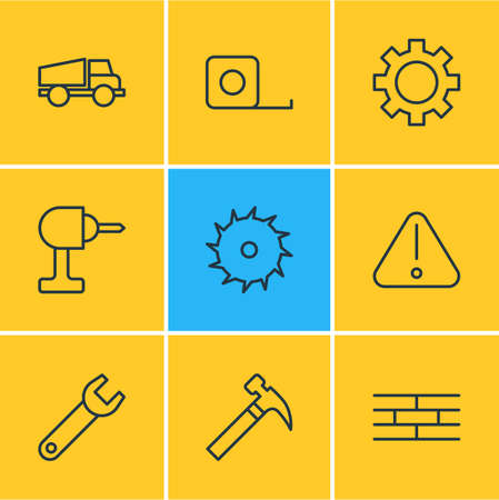 drill: Editable Pack Of Circle Blade, Cogwheel, Electric Screwdriver And Other Elements.  Vector Illustration Of 9 Industry Icons.
