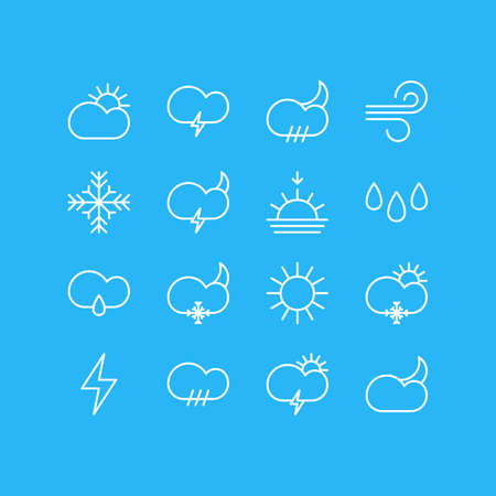 barrage: Editable Pack Of Moon Month, Sun, Snowflake And Other Elements.  Vector Illustration Of 16 Sky Icons.