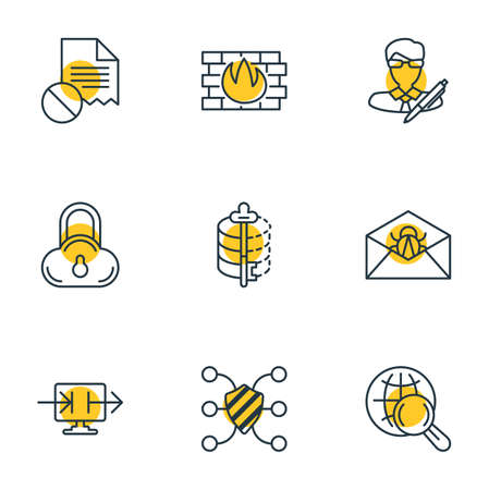 Vector Illustration Of 9 Protection Icons. Editable Pack Of Safe Storage, Send Information, Copyright And Other Elements.