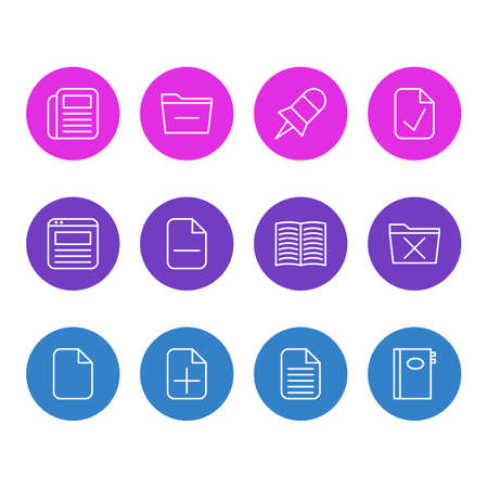 Editable Pack Of Minus, Delete, Note And Other Elements.  Vector Illustration Of 12 Bureau Icons. Illustration