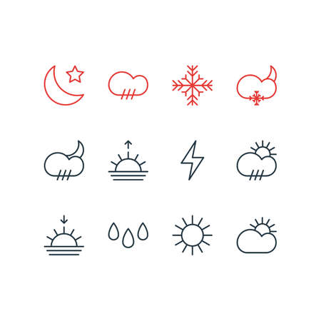 Vector Illustration Of 12 Sky Icons. Editable Pack Of Sunset, Lightning, Rain And Other Elements.