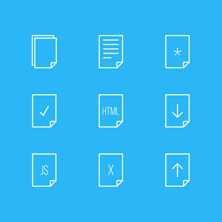 Vector Illustration Of 9 Paper Icons. Editable Pack Of Upload, Download, Script And Other Elements.