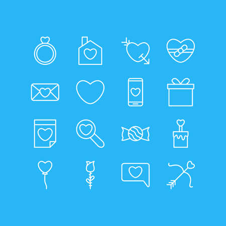 Vector Illustration Of 16 Passion Icons. Editable Pack Of Valentine, Decoration, Lollipop And Other Elements.