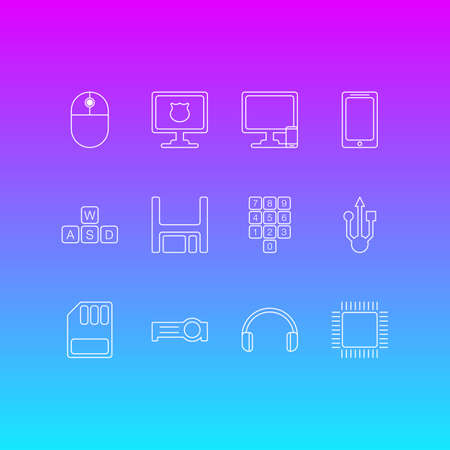 Vector Illustration Of 12 Notebook Icons. Editable Pack Of Usb Icon, Phone Near Computer, Diskette And Other Elements. Illustration