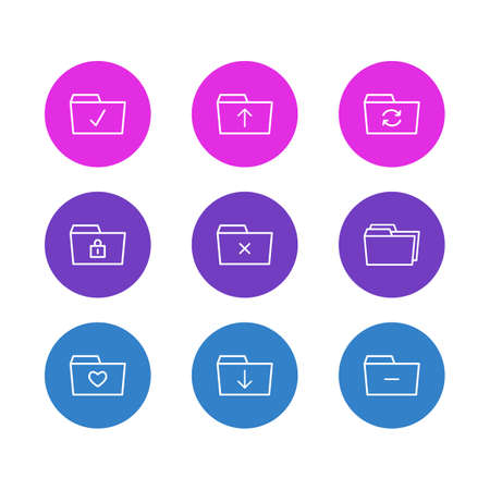 Vector Illustration Of 9 Dossier Icons. Editable Pack Of Done, Minus, Recovery And Other Elements.