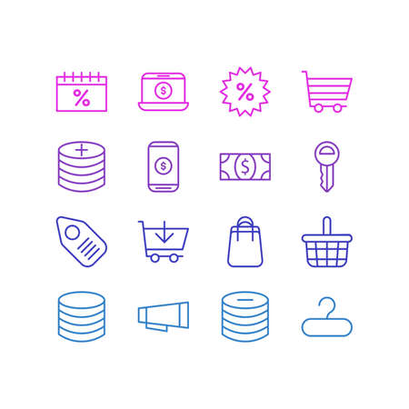 Vector Illustration Of 16 Wholesale Icons. Editable Pack Of Minus, Clef, Mobile And Other Elements. Illustration