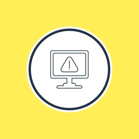 Vector Illustration Of Caution Outline. Beautiful Laptop Element Also Can Be Used As Warning Element. Illustration