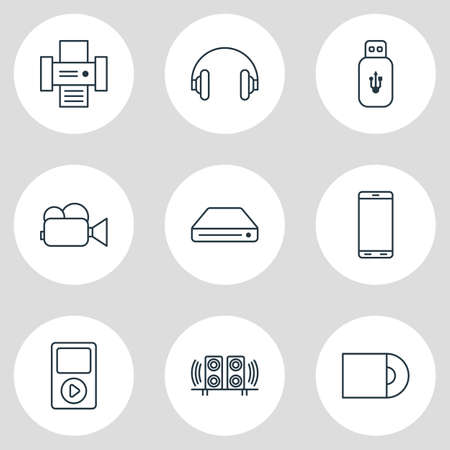 Editable Pack Of Photocopier, Loudspeaker, Dvd Drive And Other Elements.  Vector Illustration Of 9 Accessory Icons. 向量圖像