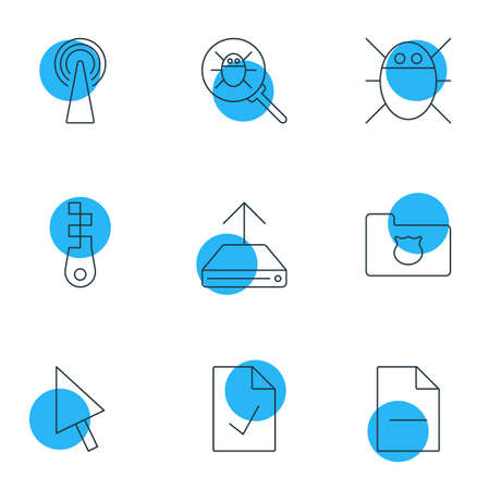 Vector Illustration Of 9 Web Icons. Editable Pack Of Bug, Removing File, Checked Note And Other Elements.