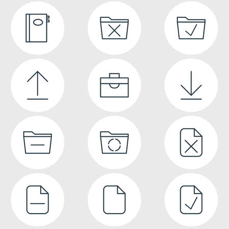 Vector Illustration Of 12 Bureau Icons. Editable Pack Of Minus, Deleting Folder, Install And Other Elements. Иллюстрация