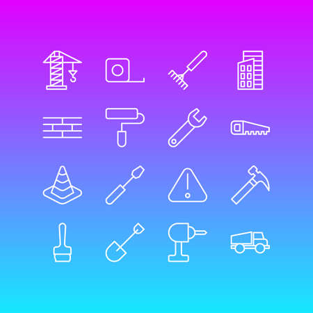Vector Illustration Of 16 Structure Icons. Editable Pack Of Barrier, Measure Tape, Harrow And Other Elements.