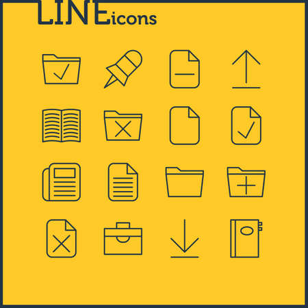 Vector Illustration Of 16 Workplace Icons. Editable Pack Of Approve, Add, Install And Other Elements.
