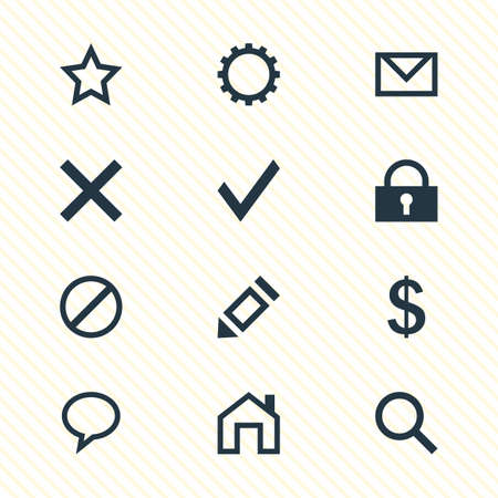 Vector Illustration Of 12 User Icons. Editable Pack Of Confirm, Mainpage, Padlock And Other Elements.