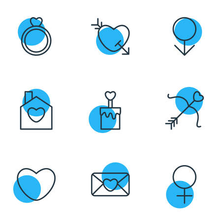 Editable Pack Of Arrow, Invitation, Cupid And Other Elements.  Vector Illustration Of 9 Amour Icons.