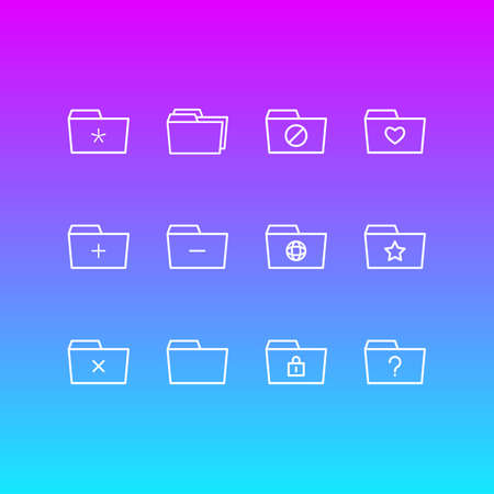 Vector Illustration Of 12 Document Icons. Editable Pack Of Folders, Remove, Plus And Other Elements. Illustration