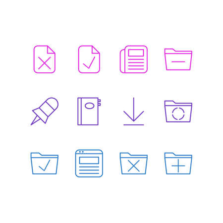 Vector Illustration Of 12 Office Icons. Editable Pack Of Done, Downloading, Remove And Other Elements. 向量圖像