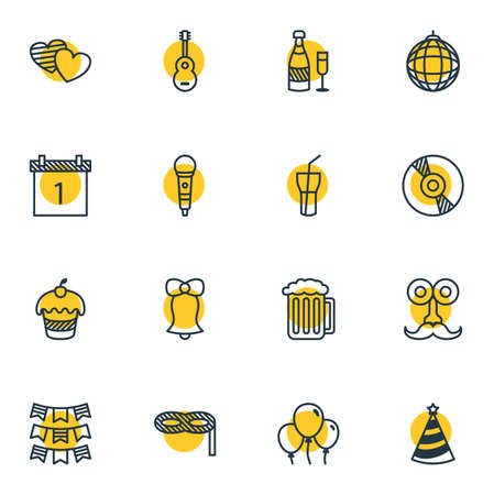 Vector Illustration Of 16 Party Icons. Editable Pack Of Soul, Compact Disk, Decoration And Other Elements.
